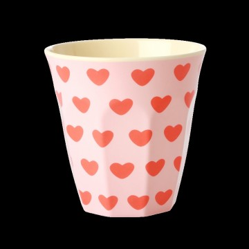 MEDIUM MELAMINE CUP - SOFT PINK - SWEET HEARTS PRINT