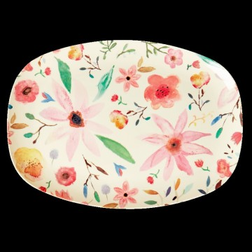 RECTANGULAR MELAMINE PLATE - ASSORTED COLORS - SELMAS FLOWER PRINT